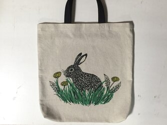 rabbit and dandelion tote w/short handle 綿×麻の画像