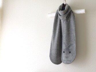 暖かウール 隠れウサギマフラーの画像