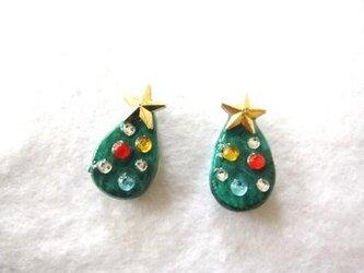 【Xmas】 クリスマスツリーピアス /イヤリング ※1点ものの画像