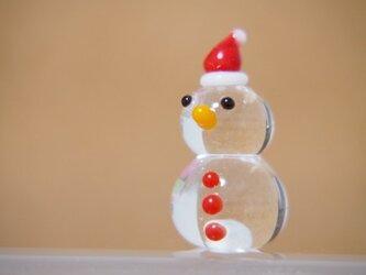 クリア雪だるまのミニミニオブジェ クリスマスぼうしの画像