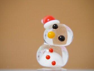 クリア 溶けかけ雪だるまのミニミニオブジェ クリスマスぼうしの画像