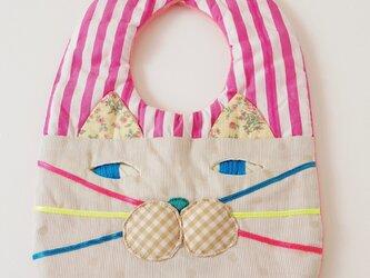 CAT BIB (S) / pink stripe×beige dotの画像