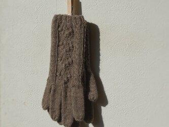 アラン手袋(ダークブラウン)の画像
