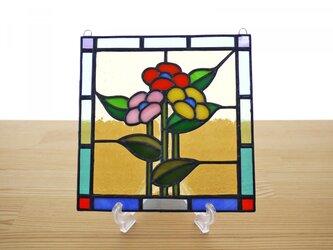 ステンドグラス ミニパネル 3つの花 15cmの画像