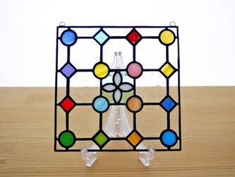 ステンドグラス ミニパネル ドットB白 15cmの画像