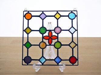 ステンドグラス ミニパネル ドットA赤 15cmの画像