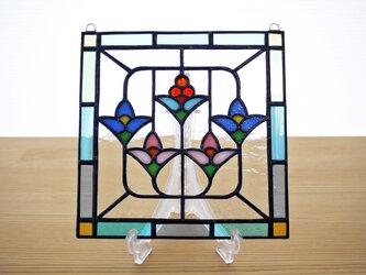 ステンドグラス ミニパネル 5つの花 15cmの画像