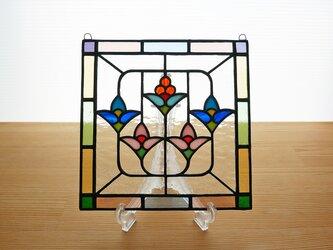 ステンドグラス ミニパネル 5つの花(ii) 15cmの画像