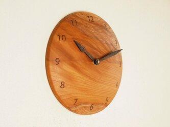 木製 掛け時計 丸 けやき材39の画像