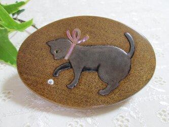 蒔絵手鏡 銀色の猫とカタツムリの画像