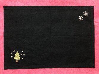 ビーズ刺繍のランチョンマット☆ホワイトクリスマスの画像