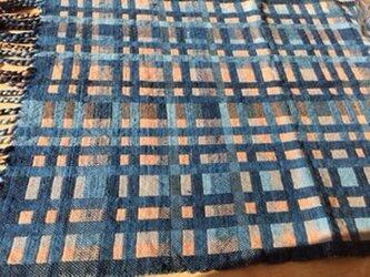 """❐手織/""""紅染まる""""藍濃淡テーブルマットor掛け布の画像"""