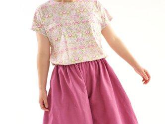 【残り1着 売り切り終了】リバティ Lodden フライスknit フレアヘムライン Tシャツ/ ロデン・ピンク t8-24の画像
