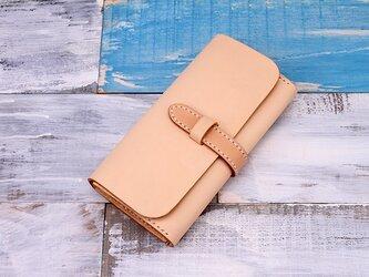 【切線派】牛革手縫い収納ジャバラマチ財布ベルト留め長財布027001の画像