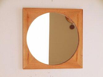 木製 鏡「しかくに◯」桜材4 ミラーの画像