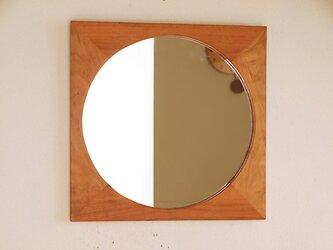 木製 鏡「しかくに◯」桜材5 ミラーの画像