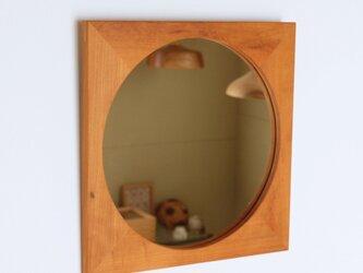 木製 鏡「四角に丸」桜材14 ミラーの画像