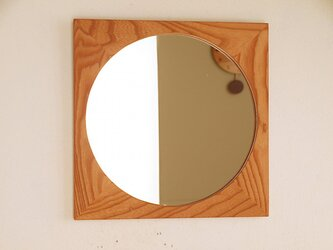 木製 鏡「しかくに◯」欅(ケヤキ)材3 ミラーの画像