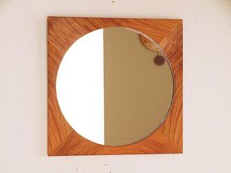 木製 鏡「しかくに◯」欅(ケヤキ)材4 ミラーの画像