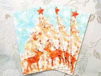 クリスマスポストカード2匹のトナカイ(3枚セット)の画像