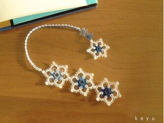 雪の結晶しおり(まる 青+白)/タティングレースの画像