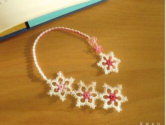 雪の結晶しおり(ほし ピンク+白)/タティングレースの画像