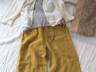 7分丈パンツ4ポケット*ベルギーリネン40番手 サフランイローの画像