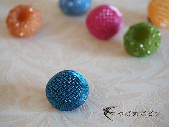 舶来ヴィンテージボタンのブローチ/帯留め◎ディープブルー【送料無料】の画像