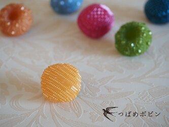 舶来ヴィンテージボタンのブローチ/帯留め◎ライトオレンジ B【送料無料】の画像