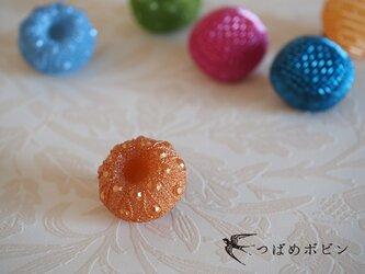 舶来ヴィンテージボタンのブローチ/帯留め◎オレンジ【送料無料】の画像