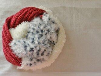 一点物3色スヌード アニマル×赤×ホワイトファーの画像