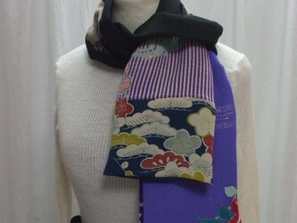 古布ストール  着物リメイク  絹の画像
