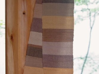 草木染しましま・手織りウールミニマフラー No.2(紅茶と胡桃、枇杷の葉etc)の画像
