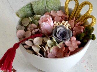 【チャコールボルドー】バラとアジサイの和風アレンジ プリザーブドフラワー 花ギフト お祝い 正月の画像