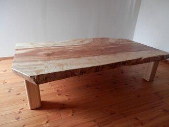 座卓 トチ(脚はホワイトアッシュ) 一枚板 美しい木目が特徴の画像