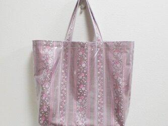 Bagビニール大/ボーダーのキラリ♪花刺繍(ピンク)の画像