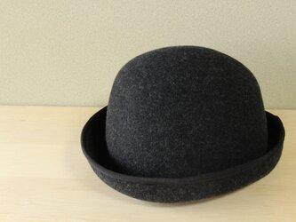 折りたためる帽子58.5cm piping hat [wool] mix blackの画像