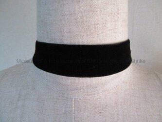 Noir[ノワール]幅広ブラックシンプルベルベットチョーカーの画像