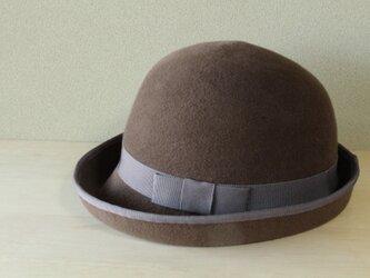 折りたためる帽子58cm piping hat [rabbit fur] brownの画像