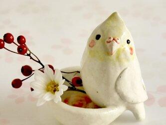 オカメインコの陶器の小物入れの画像