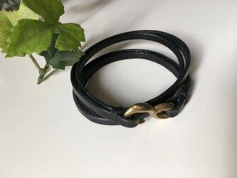 栃木レザー 4重ブレスレット黒 ♫の画像