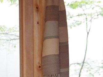大きいしましまウールマフラーNo.1 草木染め・手織りの画像
