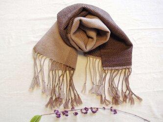 秋冬コーデに森の色をプラス 草木染・手織りのウールマフラー 枇杷&ヤシャブシ&胡桃 の画像