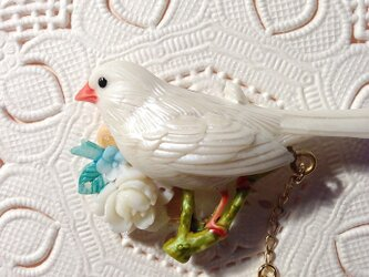 白文鳥の卵ポロリブローチの画像