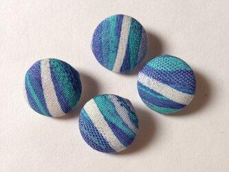 絹手染くるみボタン4個(18mm 白薄緑渋紫)の画像