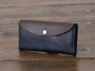 イタリア製牛革のコンパクトな長財布コンビ  /   ネイビー / チョコ※受注製作の画像