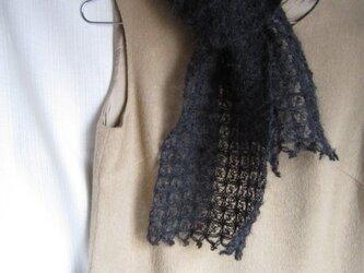 黒モヘアかぎ針編みマフラーの画像