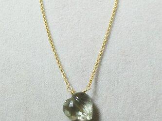 宝石質グリーンアメシストファンシーハートネックレスの画像