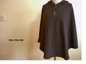 アンゴラウール のフード付きマントコートの画像