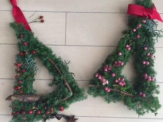 クリスマスリース ミニリース2個セットの画像